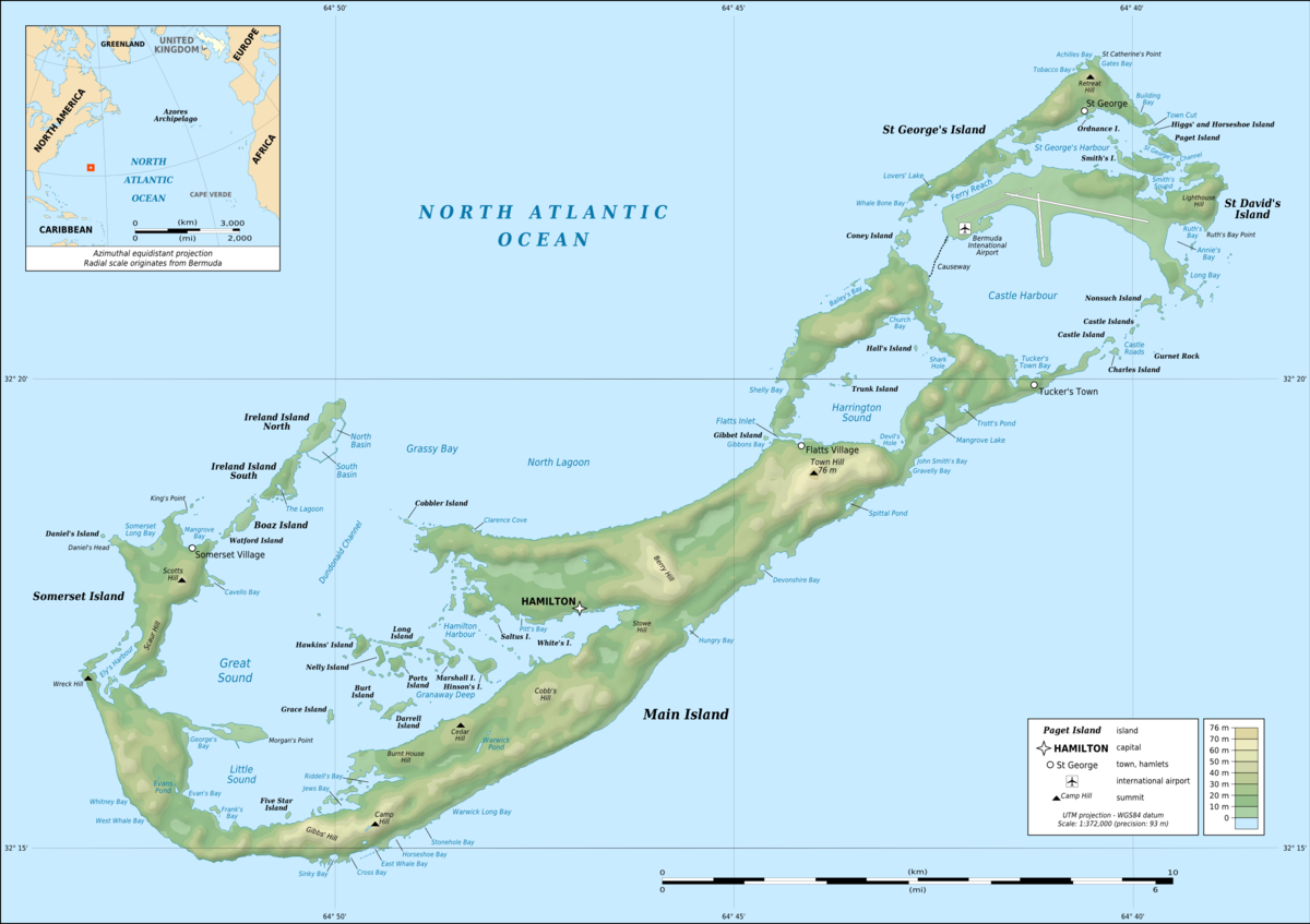 Geography Of Bermuda Wikipedia - Bermuda islands map