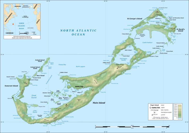1 Corona de Elisabeth II. 1964. Bermudas 800px-Bermuda_topographic_map-en
