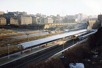 Bradford Forster Square railway station - The original station being demolished and the new station under construction in 1992.