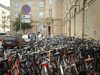 Culture of Denmark - Bikes parked in the centre of Aarhus