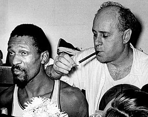 1966 NBA Finals - Bill Russell and Red Auerbach after winning their eighth consecutive NBA title