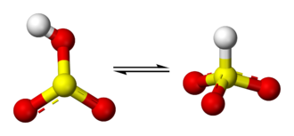 Bisulfite - Ball-and-stick models of the proposed bisulfite equilibrium. The tautomer on the right has C3v symmetry.