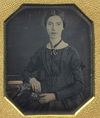 From the daguerreotype taken at Mount Holyoke, December 1846 or early 1847. It is the only authenticated portrait of Emily Dickinson later than childhood.