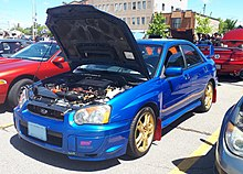 2005 Subaru Impreza WRX STI (note the coloured rocker panels for the 2005 model year)