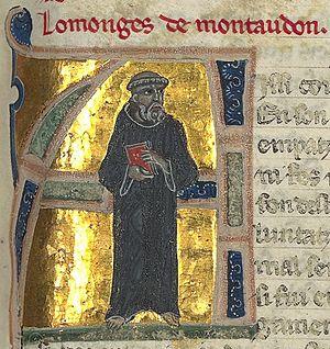 """Monge de Montaudon - """"Lo monges de Montaudon"""" from a 13th-century chansonnier now in the Bibliothèque Nationale de France."""