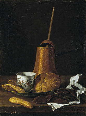Nature morte avec un service de chocolat, 1770, Luis Eugenio Meléndez, (1716-1780). Musée du Prado
