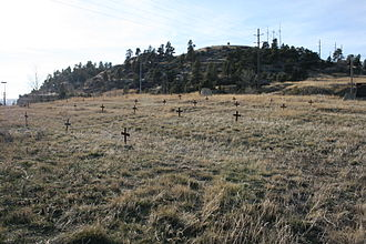 Coulson, Montana - Coulson's Boothill cemetery as it looks today. It sits just above Main Street, the busiest street in Montana, in Billings Heights