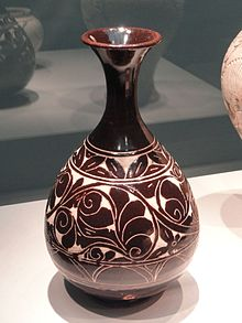 Bottle, Cizhou-type ware, Shanxi or Hebei province, China, Jin dynasty, 12th-mid 13th century AD, stoneware with white slip and blaze glaze - Freer Gallery of Art - DSC05568.JPG
