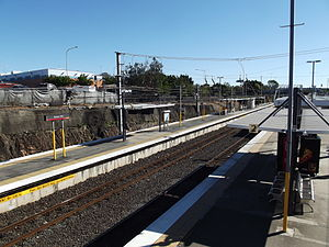 Bowen Hills railway station - Northbound view from Platform 2 in July 2012
