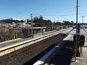 Bowen Hills railway station - Northbound view from Platform 2 in July 2012