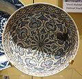 Bowl with geometric design, Iran, Mashhad, mid 15th century, Dish with medallion design, Iran, Tabriz, late 16th century, underglaze-painted stonepaste - Royal Ontario Museum - DSC04790.JPG