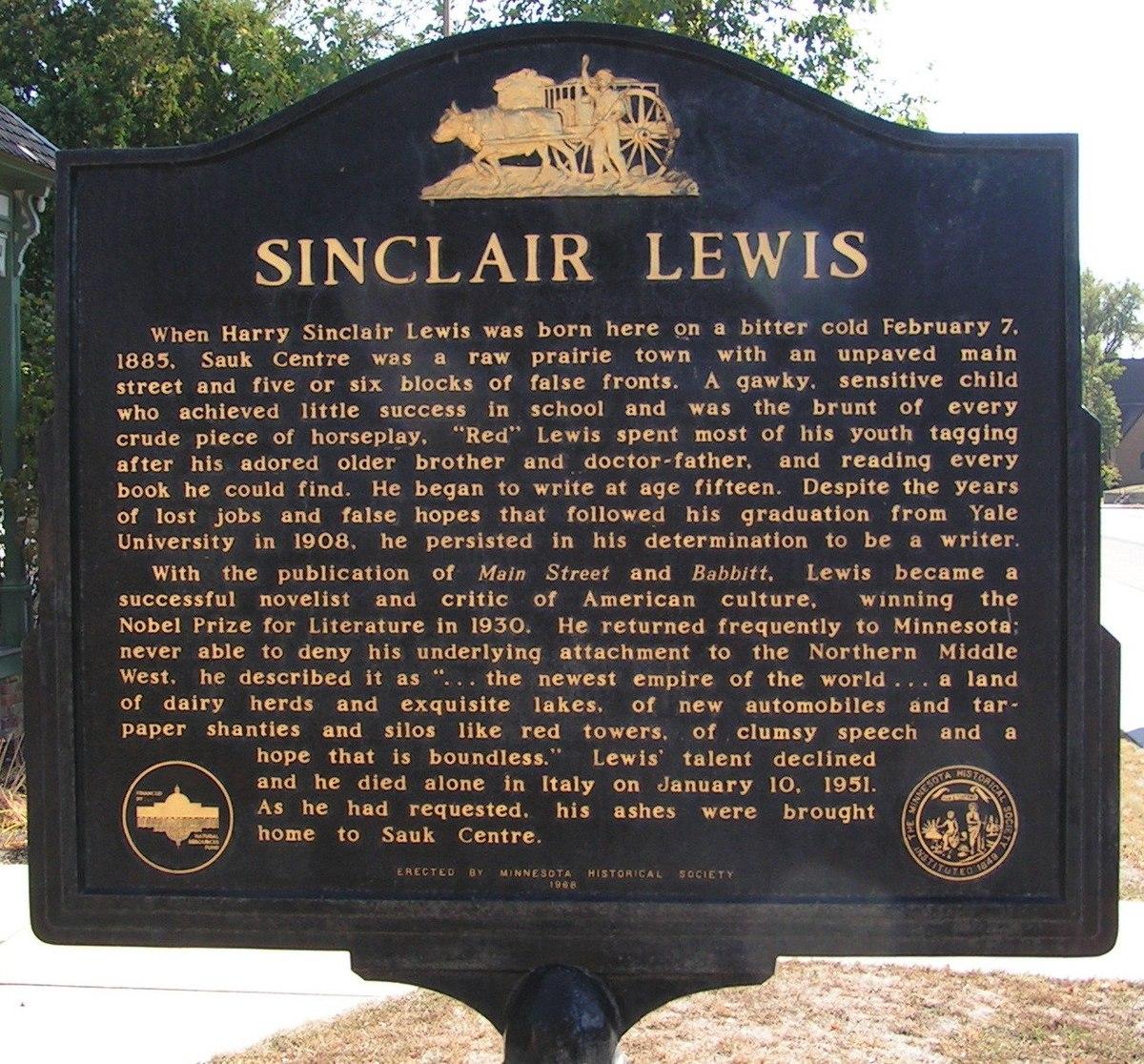 Sinclair Apartments: File:Boyhood Home Of Sinclair Lewis Historical Marker.jpg