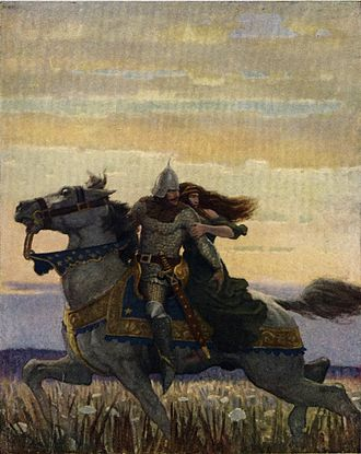 "Lancelot - N. C. Wyeth 1922: ""He rode his way with the Queen unto Joyous Gard."""