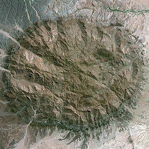 Brandberg Mountain - Brandberg Mountain seen from Spot satellite
