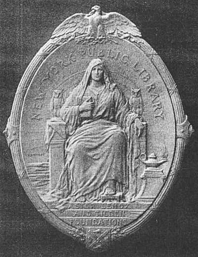 The Library's historical seal, designed by sculptist Victor David Brenner in 1909, best known as the designer of the Lincoln penny. Though rarely used, the seated personification of wisdom appears on plaques at several branches. Brenner New York Public Library Seal.jpg