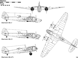 Orthographic projection of the Blenheim Mk.I(F), with profiles showing the Mk.IV and Mk.V variants.