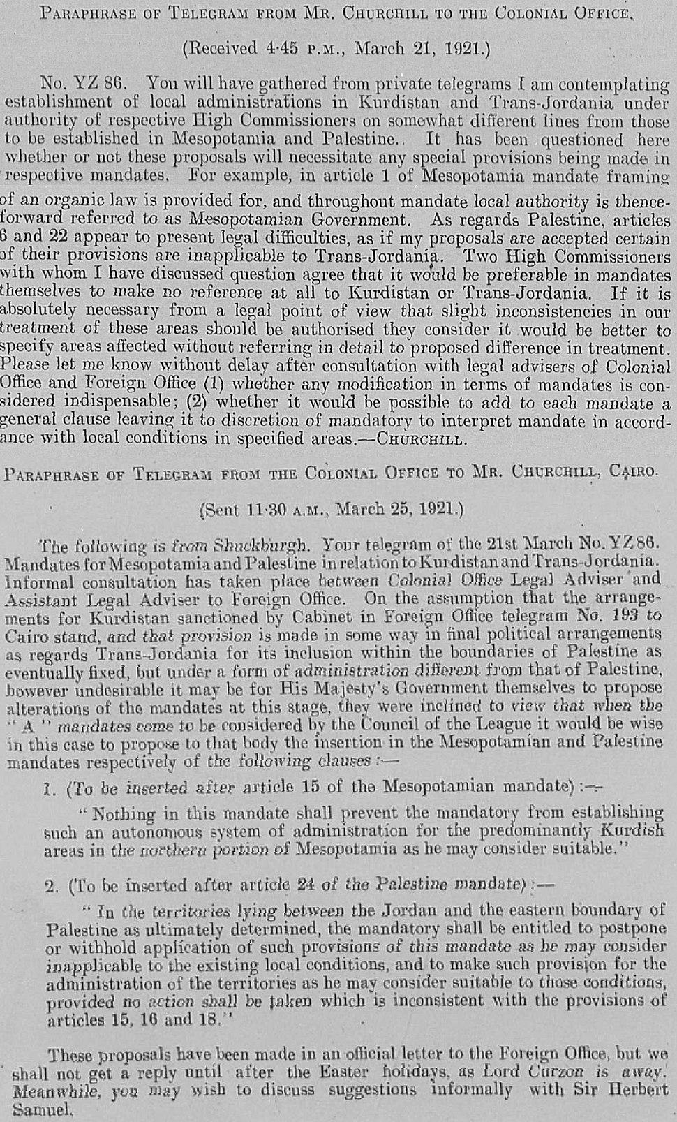 British Government memoranda regarding Article 25 of the Palestine Mandate with respect to Transjordan, March 1921