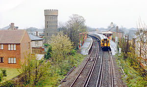 Broadstairs railway station - Broadstairs station under British Rail with two 4 CEPs in 'Jaffa cake' livery in 1990.