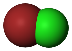 Bromine monochloride - Image: Bromine monochloride 3D vd W