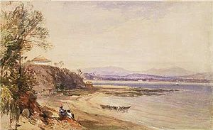 Broulee, New South Wales - Broulee in 1843; painted by John Skinner Prout in watercolour and gouache