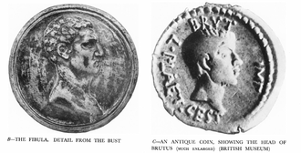 Brutus (Michelangelo) - Comparison of fibula on Brutus's shoulder with classical depiction of Brutus on a coin
