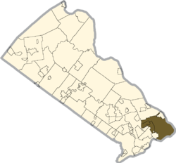 Location of Falls Township in Bucks County