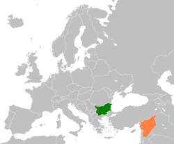 Map indicating locations of Bulgaria and Syria