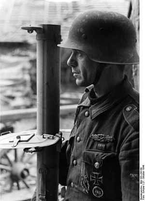 Battle of Metz - German Grenadier with Panzerschreck, on 27th October 1944, near Metz