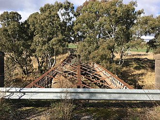 Glenmona Bridge - The damage to the timber decking after the 1985 fire