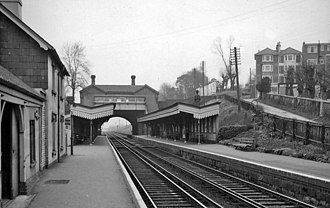 Burgess Hill railway station - Northward view of the platforms in 1961