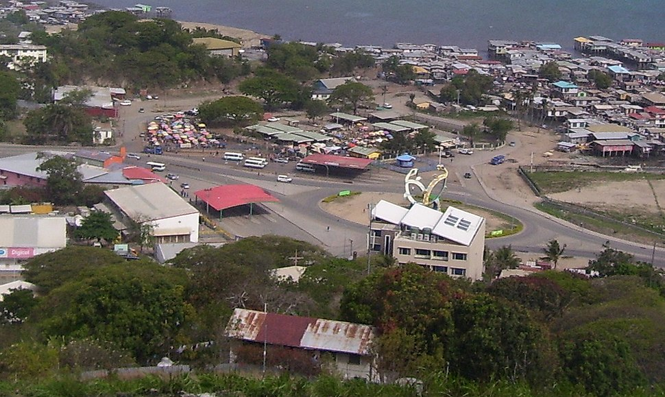 Bus station near Walter Bay, from hills (cropped)