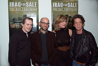 Huffington with Steve Buscemi, Moby and Lou Reed at a screening of the film Iraq for Sale: The War Profiteers, 2006 Buscemi Moby Reed.jpg