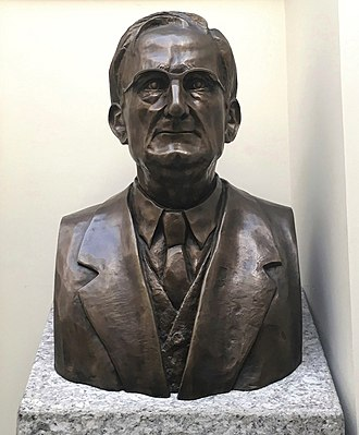 Carlucci American International School of Lisbon - Bust of CAISL school founder Anthony A. Mckenna in the school's library rotunda.