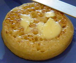 A buttered crumpet