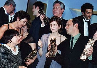 26th César Awards - Honorary César recipient Agnès Varda (bottom left) with Agnès Jaoui (centre) and Jean-Pierre Bacri (right), winners for the Best Writing award
