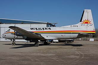 """Wasaya Airways - HS748 """"806"""" parked in front of the Red Lake hangar"""