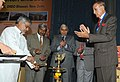 """C.P. Joshi lighting the lamp to inaugurate the International Seminar on """"Pre Engineered and Quick Launch Bridges"""" jointly organised by Ministry of Road Transport & Highways, the Railways.jpg"""