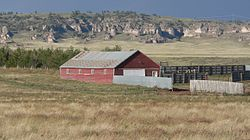 C. C. Hampton homestead machine shed from NW 2.JPG