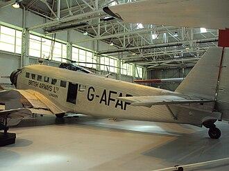 British Airways Ltd - CASA 352 at RAF Museum Cosford, painted as Junkers Ju 52 (G-AFAP) of British Airways Ltd.
