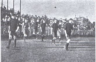 Perth Oval - Christian Brothers College players walking onto Perth Oval in 1919