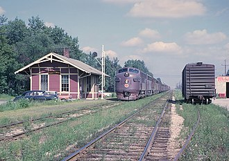Chicago Great Western Railway - A CGW freight train passing Elmhurst, Illinois from just east of York St. in 1962