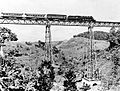 COLLECTIE TROPENMUSEUM Een trein rijdt over een spoorbrug bij Sasaksaat West-Java TMnr 10007541.jpg