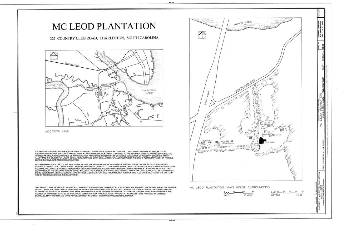 file cover sheet with map and site plan mcleod plantation 325 file cover sheet with map and site plan mcleod plantation 325 country club road charleston charleston county sc habs sc 10 char