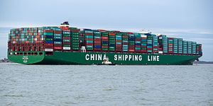 China Shipping Container Lines - Image: CSCL Globe arriving at Felixstowe, United Kingdom