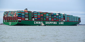 Port of Felixstowe - CSCL Globe, the largest container ship arriving at the port in January 2015.
