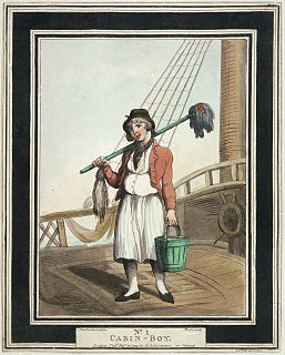 Cabin boy low ranking male employee who waits on the officers and passengers of a ship