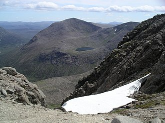 Natural history of Scotland - The High Cairngorms - Cairn Toul and Sgor an Lochain Uaine from Braeriach