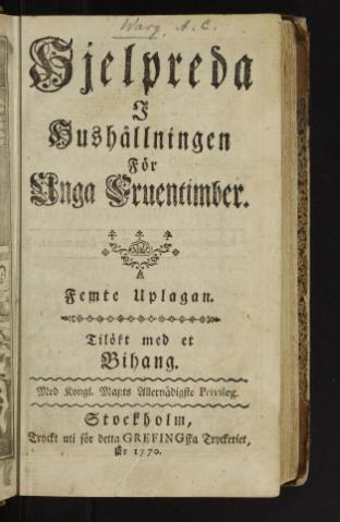 Titelsidan från Hjelpredan, femte upplagan