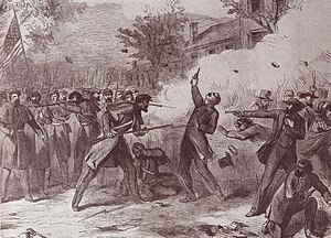 """Camp Jackson affair - """"Terrible Tragedy at St. Louis, Mo."""", wood engraving originally published in the New York Illustrated News, 1861"""