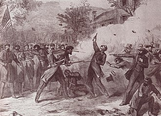 "Camp Jackson affair - ""Terrible Tragedy at St. Louis, Mo."", wood engraving originally published in the New York Illustrated News, 1861"